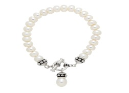 Drop Pearl with Sterling Toggle Bracelet - Sterling Drop Fresh Water Cultured Pearl Toggle Bracelet
