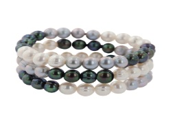 Set of Three Multi Colored Pearl Stretch Bracelets - Set of 3 Black White Gray Fresh Water Cultured Pearl Stretch Bracelets