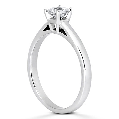 Square Stone Solitaire Engagement Ring - 14K WG Square Stone Solitaire Ring