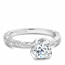 14k WG Engraved Solitaire with Fancy Tulip Crown - 14k WG Engraved Solitaire with Fancy Tulip Crown