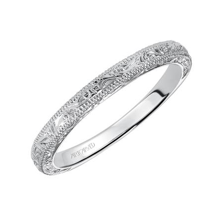 14K WG Engraved Milgrain Band - 14K WG Engraved Milgrain Band