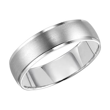 Brushed Center Band in White Gold - 14K WG Brushed Center Band