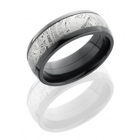 8mm Black Zirconium Band with Meteorite Center - 8mm Black Zirconium with Meteorite Center     Genuine Meteorite contains natural characteristics that vary from piece to piece
