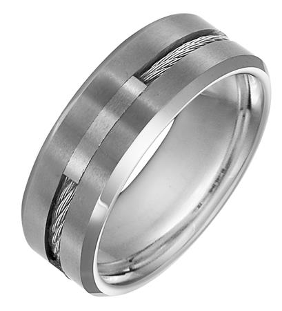 Tungsten Band with Steel Cable Inlay - Tungsten Band with Steel Cable Inlay