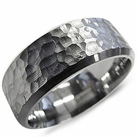 8mm Hammered Titanium Band - 8mm Hammered Titanium Ring