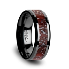 8mm Black Ceramic Triassic Red Dinosaur Bone Ring - 8mm Black Ceramic Triassic Red Dinosaur Bone Inlaid Beveled Edged Ring