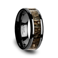 8mm Black Ceramic Silurian Dinosaur Bone Ring - 8mm Black Ceramic Silurian Dinosaur Bone Inlaid Beveled Edged Ring