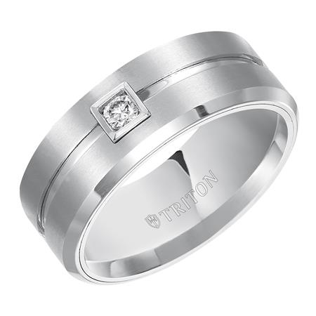 9mm Tungsten with 1/10 ct Diamond - 9mm Tungsten with 1/10 ctw Diamond I2 I/J