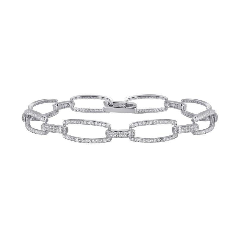 Rectangle Link Bracelet - 3-1/2 Carat Simulated Diamond and Sterling Bonded with Platinum 7.25