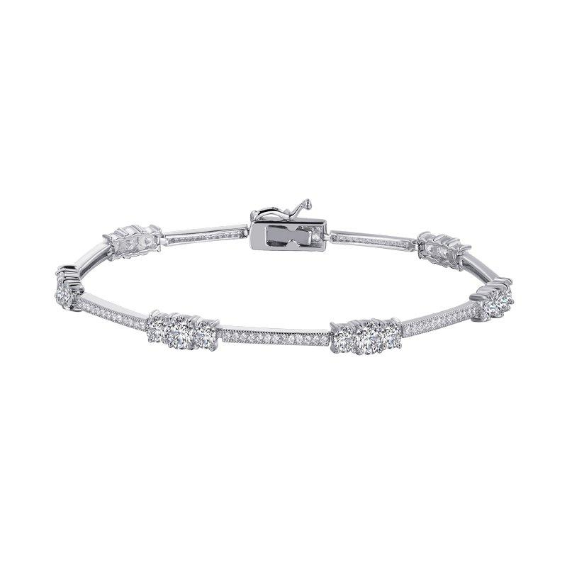 Cluster Inline Bracelet - 5 Carat Simulated Diamond and Sterling Bonded with Platinum 7.25