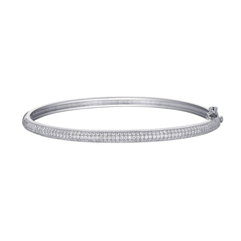 Pave Set Hinged Bangle Bracelet - 2 Carat Pave Set Simulated Diamond and Sterling Bonded with Platinum 7.25