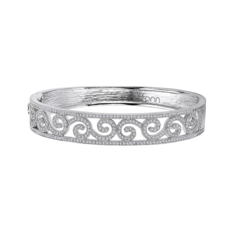 Swirl Design Wide Hinged Bangle Bracelet - 3-1/2 Carat Simulated Diamond and Sterling Bonded with Platinum Swirl Design 7/16