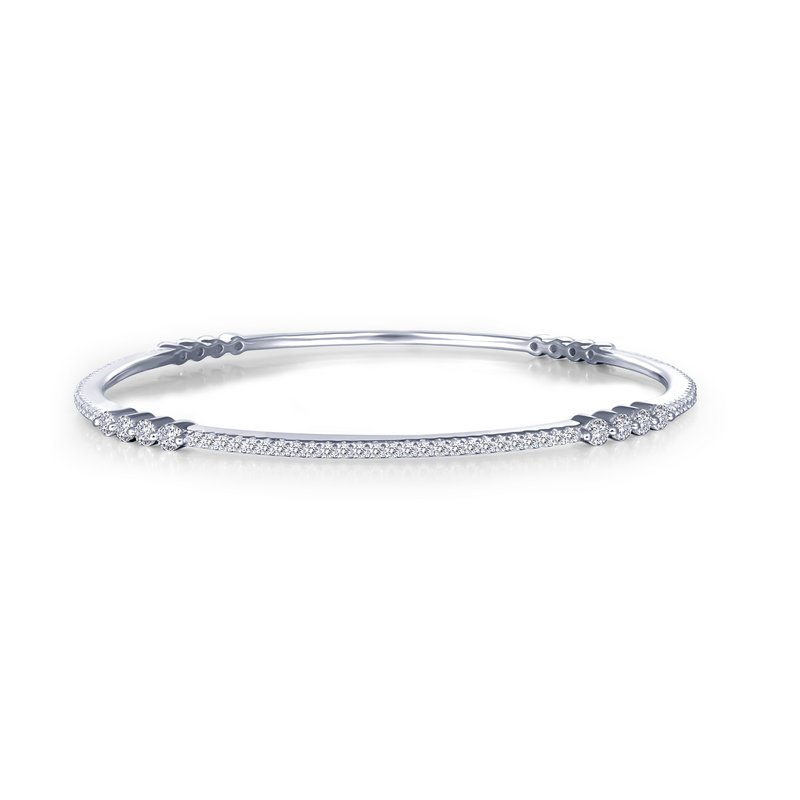 Thin Stackable Bangle Bracelet - 1-7/8 Carat Simulated Diamond and Sterling Bonded with Platinum 7.25