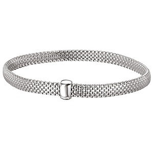 Sterling with Rhodium Thin Basket Weave Bracelet - Sterling with Rhodium 7.5