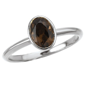 Sterling Stackable Ring with Oval Smoky Quartz - Sterling Stackable Ring with Oval Smoky Quartz