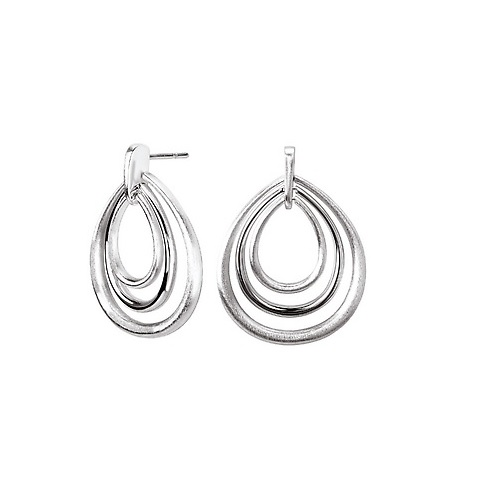 Triple Drop Post Sterling Earrings - Sterling Satin & High Polish Triple Oval Post Earrings