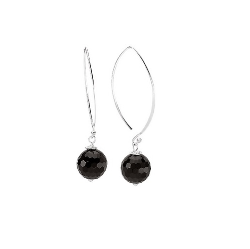 Sterling Bead Dangle Earrings - Sterling 14mm Bead Dangle Earrings