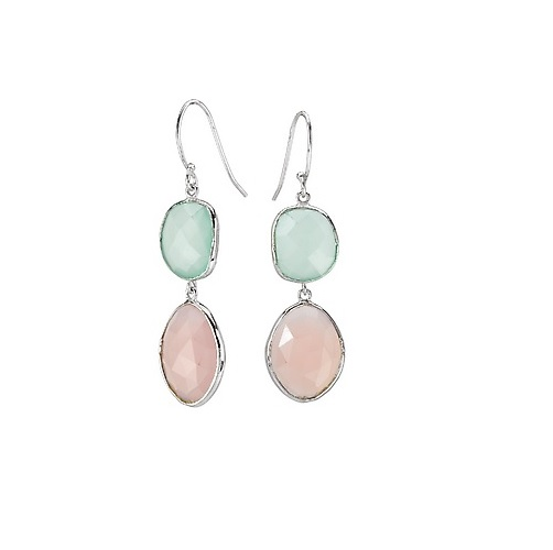 Aqua and Pink Chalcedony Ear Hook Earrings - Sterling with Rhodium Aqua and Pink Chalcedony Earrings