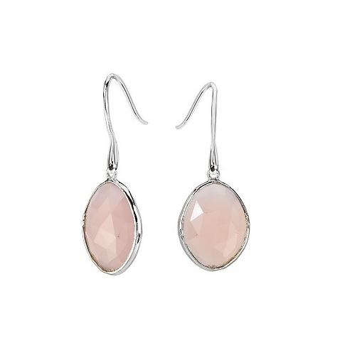 Sterling Pink Chalcedony Earrings - Sterling with Rhodium Pink Chalcedony Earrings