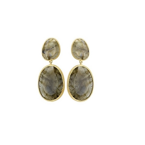18K YG over Sterling Labradorite Post Earrings - 18K YG over Sterling Labradorite Post Earrings