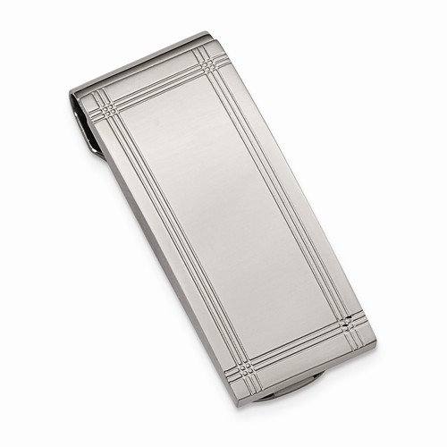 Stainless Steel Grooved Money Clip - Stainless Steel Grooved Money Clip