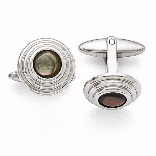 Stainless Steel Black MOP Cuff Links - Stainless Steel Black MOP Cuff Links