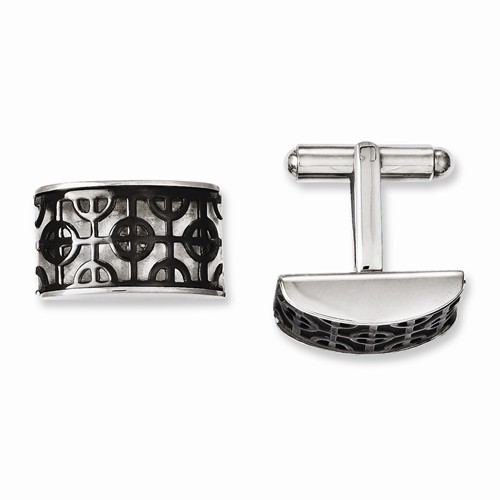 Stainless Steel Fancy Black Plated Cuff Links - Stainless Steel Fancy Blk IP-Plated Cuff Links