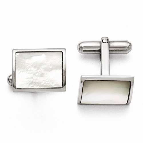 Stainless Steel White MOP Cuff Links - Stainless Steel White MOP Cuff Links