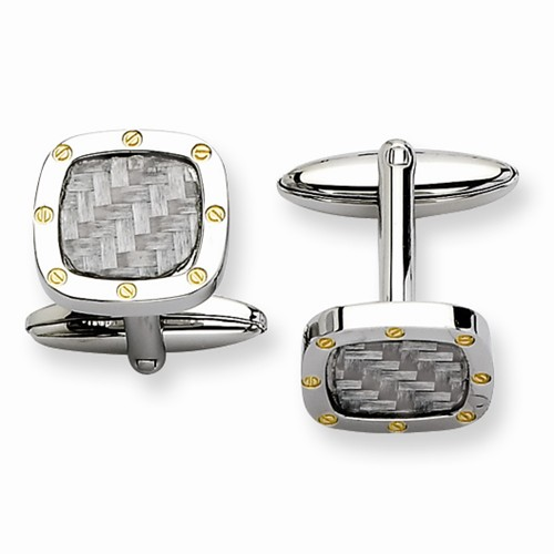 Stainless Steel Grey Carbon Fiber Cuff Links - Stainless Steel Grey Carbon Fiber Cuff Links