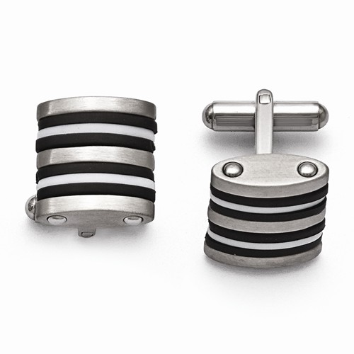 Stainless Steel B&W Rubber Cuff Links - Stainless Steel B&W Rubber Cuff Links