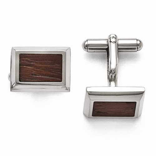 Stainless Steel Wood Inlay Cuff Links - Stainless Steel Wood Inlay Cuff Links