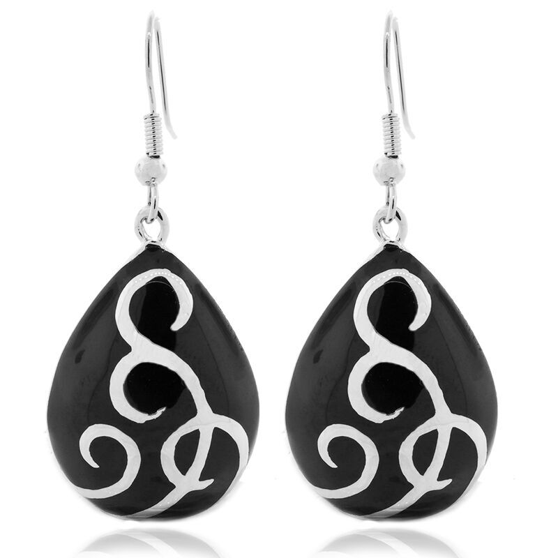 Stainless Ballgown Earring in Silver Black - Stainless Ballgown Earring in Silver Black