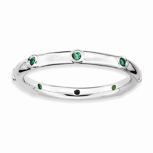 Sterling Created Emerald Stackable Ring - Sterling Created Emerald Stackable Ring