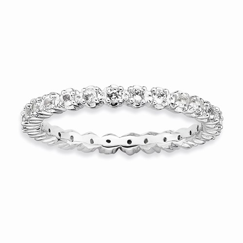 Sterling Silver White Topaz Eternity Stackable Ring - Sterling Silver White Topaz Eternity Stackable Ring
