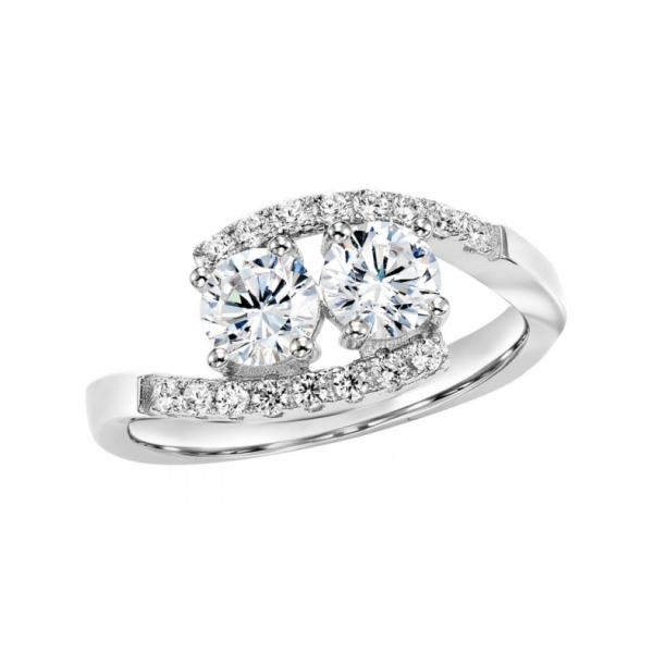 GOLD DIAMOND FASHION RINGS - 14 KARAT WHITE GOLD AND DIAMOND 'TWOGETHER' RING SET WITH 19 DIAMONDS AT 1 CARAT TOTAL WEIGHT