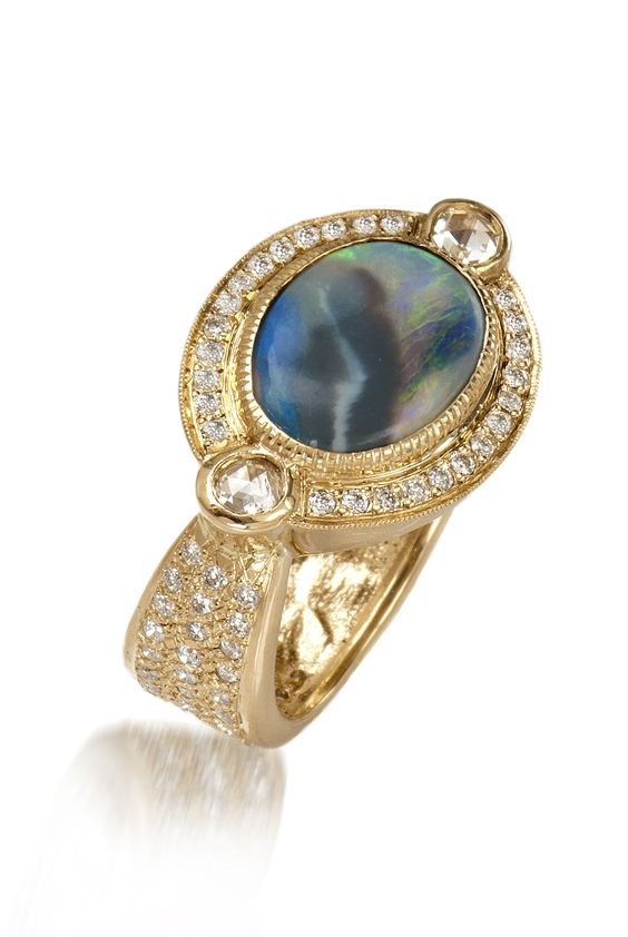 GOLD DIAMOND FASHION RINGS - 14 KARAT YELLOW GOLD HALF ENGRAVED FLORAL AND HALF PAVE VINTAGE SHANK WITH BLACK OPAL CENTER   CARAT ACCENTED BY .  CARAT OF CHAMPAGNE DIAMONDS AND SURROUNDED BY NEAR COLORLESS / VS-SI CLARITY ROUND BRILLIANT DIAMONDS .57 CARAT TOTAL WEIGHT ONE OF A KIND BY JUST JULES