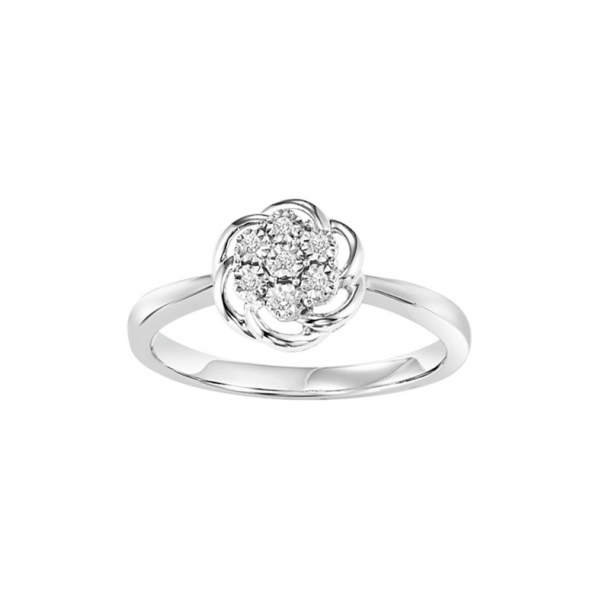 STERLING SILVER/GOLD COMBO DIAMOND FASHION RINGS - STERLING SILVER FLOWER SHAPED RING WITH 7 DIAMONDS .04 CARAT TOTAL WEIGHT