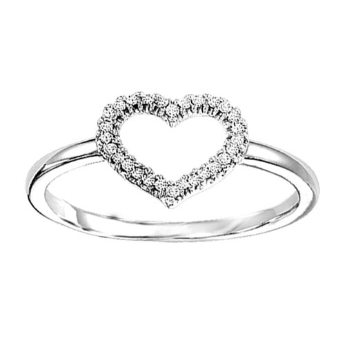 STERLING AND DIAMOND RINGS - STERLING SILVER  OPEN HEART RING SET WITH 26 DIAMONDS AT .09  CARAT TOTAL WEIGHT