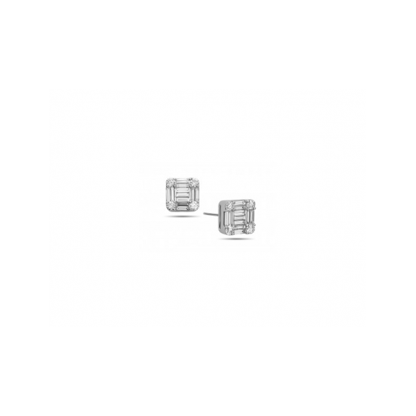 DIAMOND EARRINGS - 14 KARAT WHITE GOLD DIAMOND COMPOSITE STUD EARRINGS SET WITH .51 CARAT TOTAL WEIGHT DIAMONDS BY DILAMANI