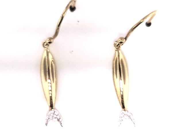STERLING SILVER/GOLD COMBO DIAMOND EARRINGS - GOLD VERMEIL WIRE FISH EARRINGS BY INDIA HICKS WITH DIAMONDS .084CT