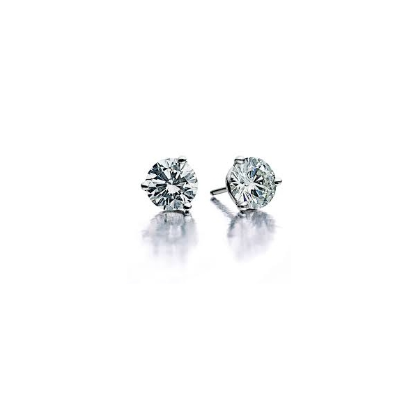 DIAMOND STUD EARRINGS - .80  CARAT TOTAL WEIGHT ROUND BRILLIANT NEAR COLORLESS / SI CLARITY DIAMONDS  SET INTO 14 KARAT WHITE GOLD MARTINI SETTINGS
