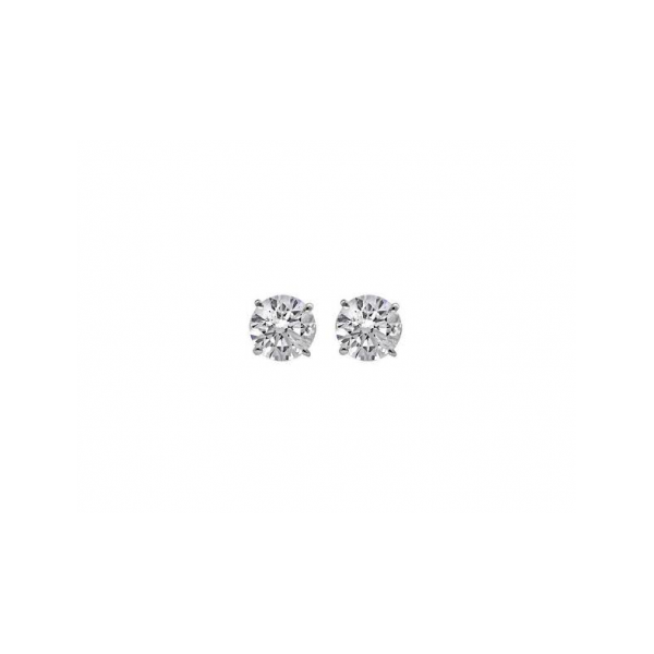 DIAMOND STUD EARRINGS - 1.80 CARAT TOTAL WEIGHT 14 KARAT WHITE GOLD AND DIAMOND SOLITAIRE EARRINGS / NEAR COLORESS/ SI CLARITY SET INTO CLASSIC 4 PRONG TIFFANY SETTINGS