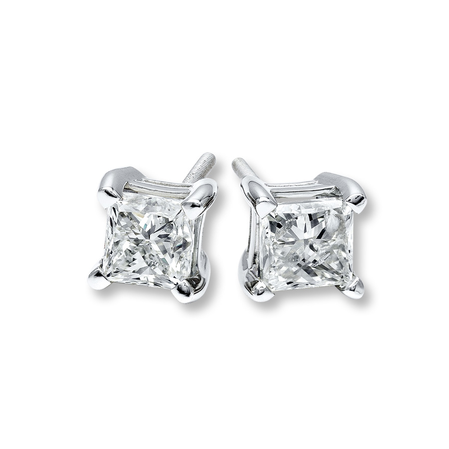 DIAMOND STUD EARRINGS - .75 CARAT TOTAL WEIGHT PRINCESS CUT DIAMONDS /  NEAR COLORLESS / VS-SI CLARITY DIAMOND EARRINGS  SET INTO 14 KARAT WHITE GOLD CLASSIC 4 PRONG .SETTINGS