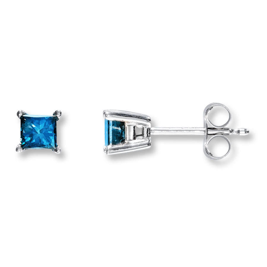 DIAMOND STUD EARRINGS - .25 CARAT TOTAL WEIGHT BLUE PRINCESS CUT DIAMONDS SET INTO CLASSIC 4 PRONG SETTINGS