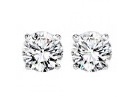 DIAMOND STUD EARRINGS - .75 CARAT TOTAL WEIGHT 14 KARAT WHITE GOLD  4 PRONG ROUND DIAMOND SOLITAIRE  EARRINGS / NEAR COLORLESS / VS-SI CLARITY DIAMONDS
