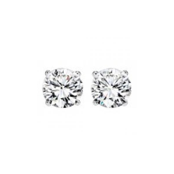 DIAMOND STUD EARRINGS - 1.00 CARAT TOTAL WEIGHT /14 KARAT WHITE GOLD  4 PRONG ROUND DIAMOND SOLITAIRE  EARRINGS /  NEAR COLORLESS / I CLARITY DIAMONDS