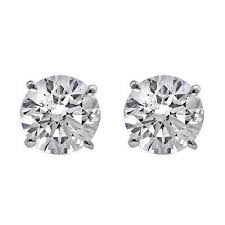 DIAMOND STUD EARRINGS - 1.53 CARAT TOTAL WEIGHT NEAR COLORLESS VS CLARITY 14 KARAT WHITE GOLD ROUND BRILLIANT DIAMOND SOLITAIRE EARRINGS SET IN BASKET MOUNTINGS WITH SCREWBACKS