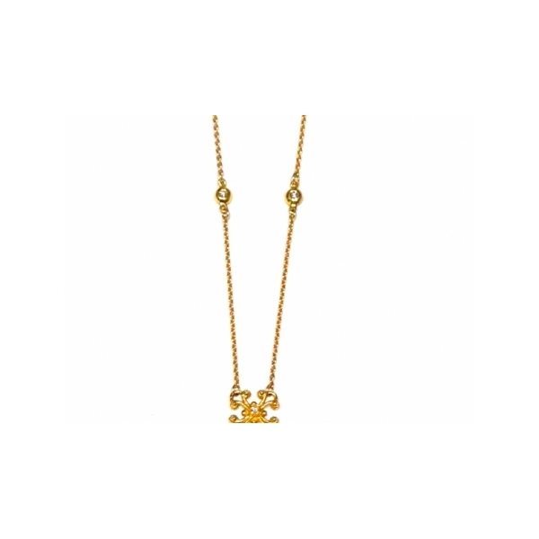 DIAMOND PENDANTS - 18 KARAT YELLOW GOLD AEGEAN NECKLACE SET WITH DIAMONDS .18 CARAT TOTAL WEIGHT BY ELI DESIGN
