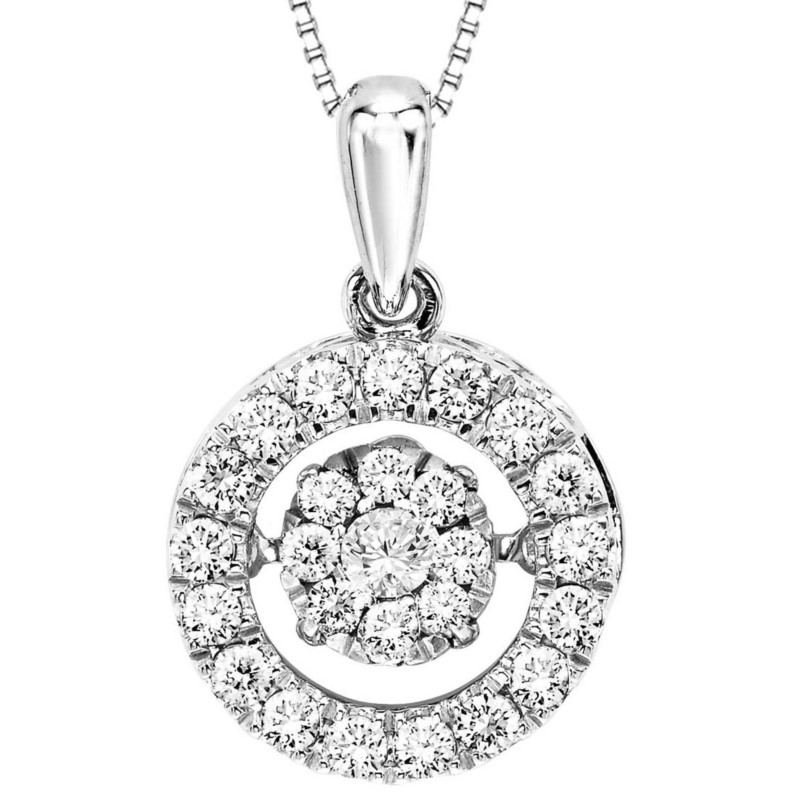 DIAMOND PENDANTS - 10 KARAT WHITE GOLD AND  DIAMOND 'RHYTHM OF LOVE' PENDANT SET WITH 26 ROUND BRILLIANT NEAR COLORLESS /SI CLARITY DIAMONDS AT .50 CARAT TOTAL WEIGHT (BOX CHAIN INCLUDED)