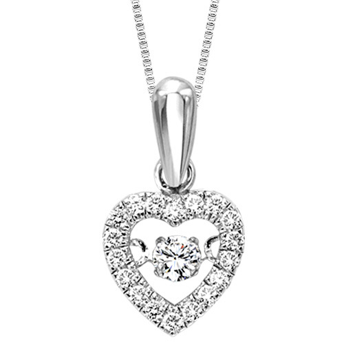 DIAMOND PENDANTS - 10 KARAT WHITE GOLD AND DIAMOND 'RHYTHM OF LOVE' HEART PENDANT SET WITH 19 ROUND BRILLIANT NEAR COLORLESS /SI CLARITY DIAMONDS .20 CARAT TOTAL WEIGHT (CHAIN INCLUDED)